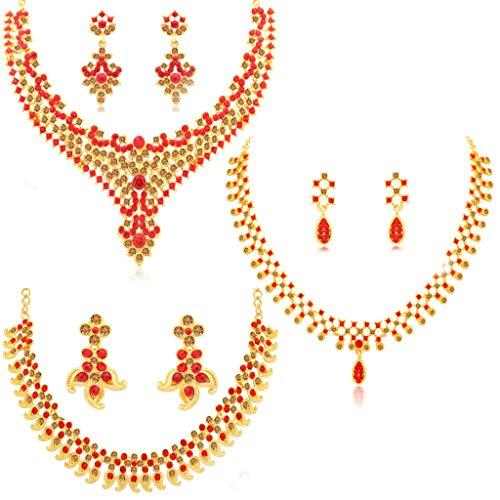 Sukkhi Wedding Jewellery Diamond Jewellery Set for Women (Red) (CBN82208)
