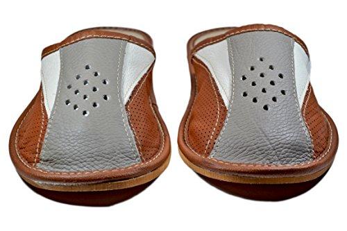 Scuffs Cowhide Indoor House Men's ReindeerLeather Slippers Grey Slides 7OAPSxw