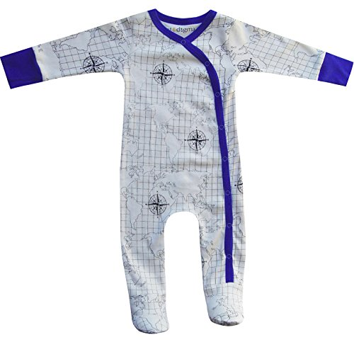 Cat & Dogma Certified Organic Baby Clothing - Footie - Map (12-18 Months) (Bitty Baby Cloth)