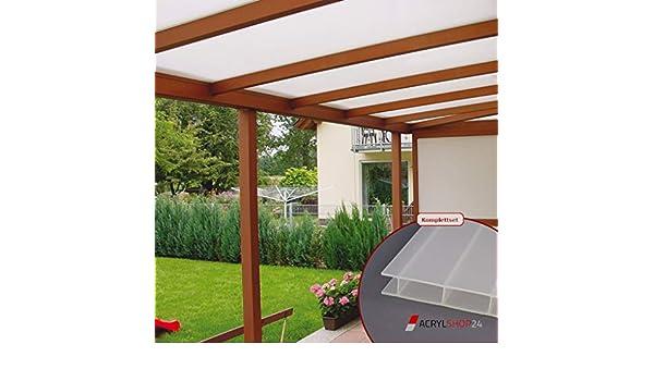 ACRYLSHOP24 - Set completo de techo para terraza de cristal acrílico 16/32 blanco ópalo: Amazon.es: Jardín