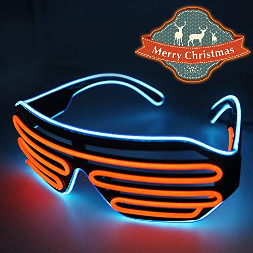 YJLWE LED Light Up Glasses Party Flashing EL Wire Neon Rave Glasses for Kids and Adults Carnival Halloween Disco Bar DJ Glowing Décor Blue and Orange