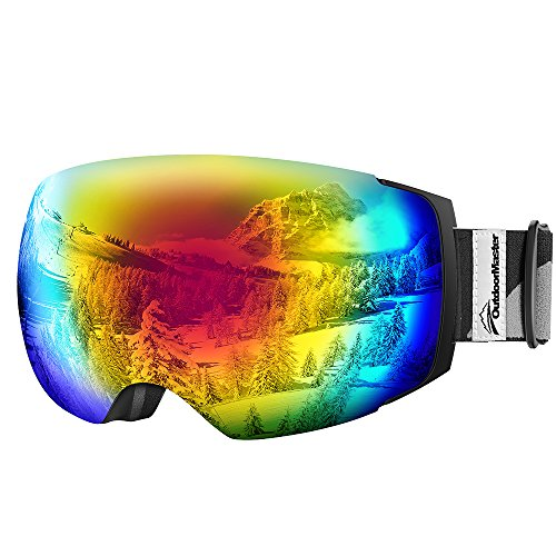 OutdoorMaster Ski Goggles PRO - Frameless, Interchangeable Lens 100% UV400 Protection Snow Goggles for Men & Women ( VLT 15% Colourful Lens with Free Protective Case - Snow Glare