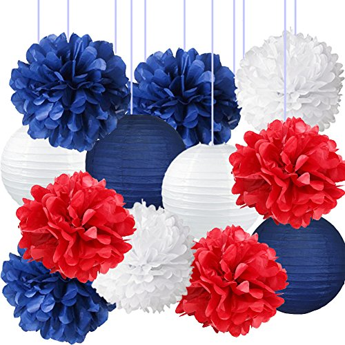 Nautical Party Decor Pom Poms Tissue Paper Lanterns Navy Blue Mixed Red White Patriotic Decorations Captain America Party Supplies for Baby Shower Boy Scout Banquet Birthday Party Decorations