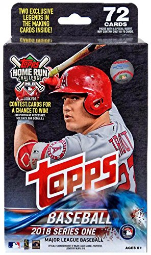 Large Product Image of 2018 Topps Baseball Factory Sealed Series One Hanger Box with 72 Cards per box including 2 RETAIL EXCLUSIVE Legends in the Making Cards and Possible Autos, Game Used Relic cards and more