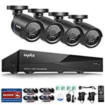 Sannce 8-Channel Security Camera System 1080N DVR Reorder Video Surveillance Recorder and (4) AHD 720P Weatherproof Indoor/Outdoor Cameras --NO HDD