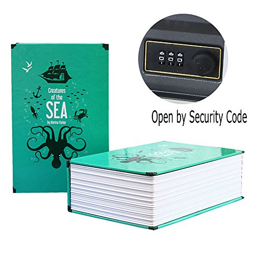 Book Secret Hidden Security Safe Lock Cash Money Jewellery Locker Box M Size 2 Models (Security Code or Key) for Choice (Open by Security Code, Creatures of the Sea)