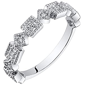 Peora Sterling Silver Stackable Ring Cubic Zirconia, 1.9mm Byzantine Half Eternity Band for Women, Sizes 5 to 9