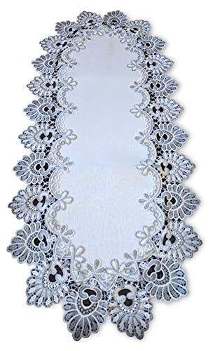 Galleria di Giovanni Silver Gray Lace Table Runner Antique White 35 Inch Dresser Scarf Doily