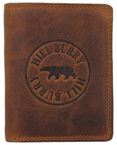 Genuine Leather Wallets for Men Handmade Bifold Wallet ID Card Holder with coin pocket Hill Burry brown Madrid (Wallet Genuine Usa Leather Ladies)