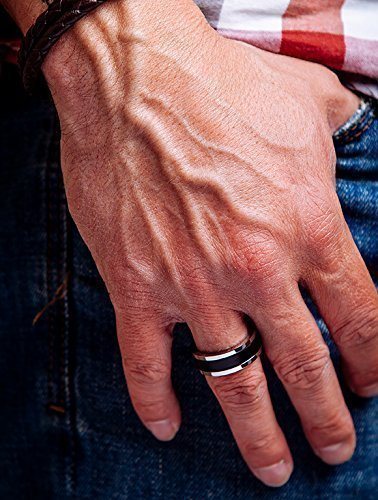 Mens Black Ring Leather and Stainless Steel Chunky Band Leather Anniversary Gift Idea, Hypoallergenic, Handmade in Europe (Chunky Band)