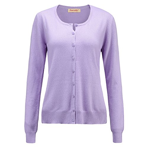 Panreddy Women's Wool Cashmere Classic Cardigan Sweater XL Light Purple (Sweater Purple Wool)