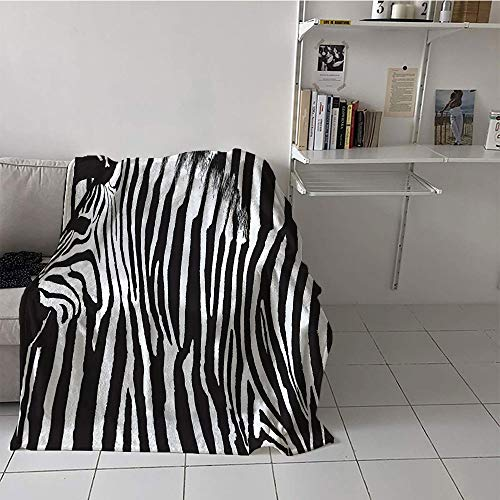 Custom homelife Children's Blanket Spring Digital Printing Blanket (60 by 62 Inch,Zebra Print Decor Collection,Zebra Design with Animal Blended Over Itself to Create an Abstract Pattern,Black White