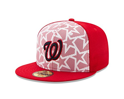 (New Era MLB Washington Nationals Men's 2016 Stars & Stripes 59Fifty Fitted Cap, Size 7 1/4, Scarlet)