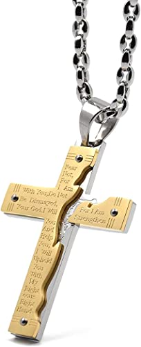 Wine Jianxian Usa Cross Pendant Jewelry Zinc Alloy Prayer Necklace For Men Women With Necklace,24 Inch