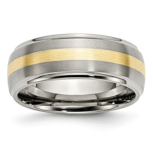 ICE CARATS Titanium Ridged Edge 14k Yellow Inlay 8mm Brushed/ Wedding Ring Band Size 8.50 Precious Metal Fine Jewelry Gift Set For Women Heart by ICE CARATS (Image #4)