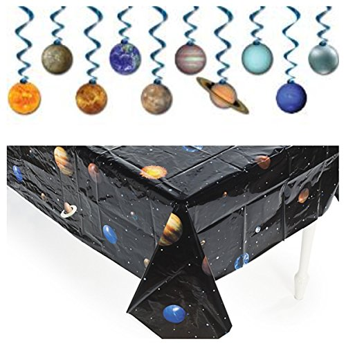 Solar System - OUTER Space PARTY Decorations - TABLECLOTH -Dangling SWIRLS - Planet DECOR - Science ()