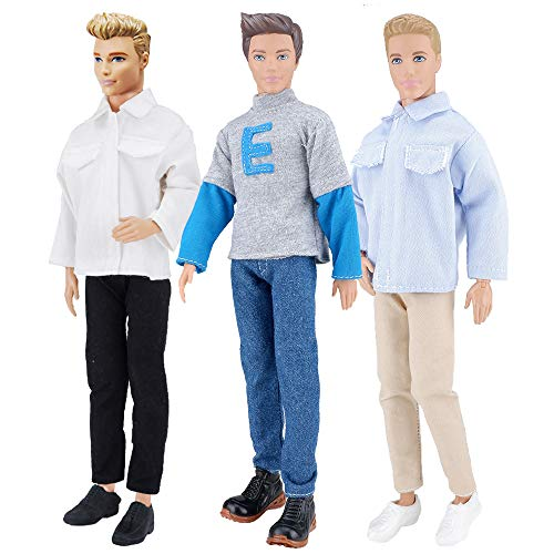 E-TING 3 Sets Casual Wear Shirt Doll Clothes Jacket Pants Outfits for 12 inches boy Dolls Casual Shirt