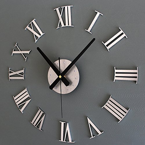 Kaimao Modern DIY Large Wall Clock Decal 3D Stickers Roman Numerals Mute Wall Clocks Home Office Decoration-Sliver