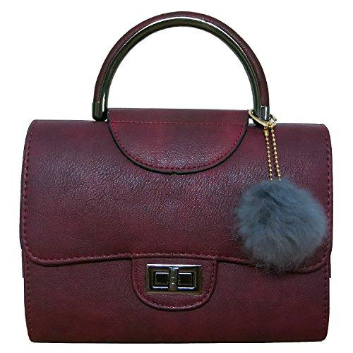 Yogaily Women Vintage Top Handle Handbag Girls Crossbody Shoulder Bag Synthetic Nubuck Leather Wrist Bag (Wine Red)