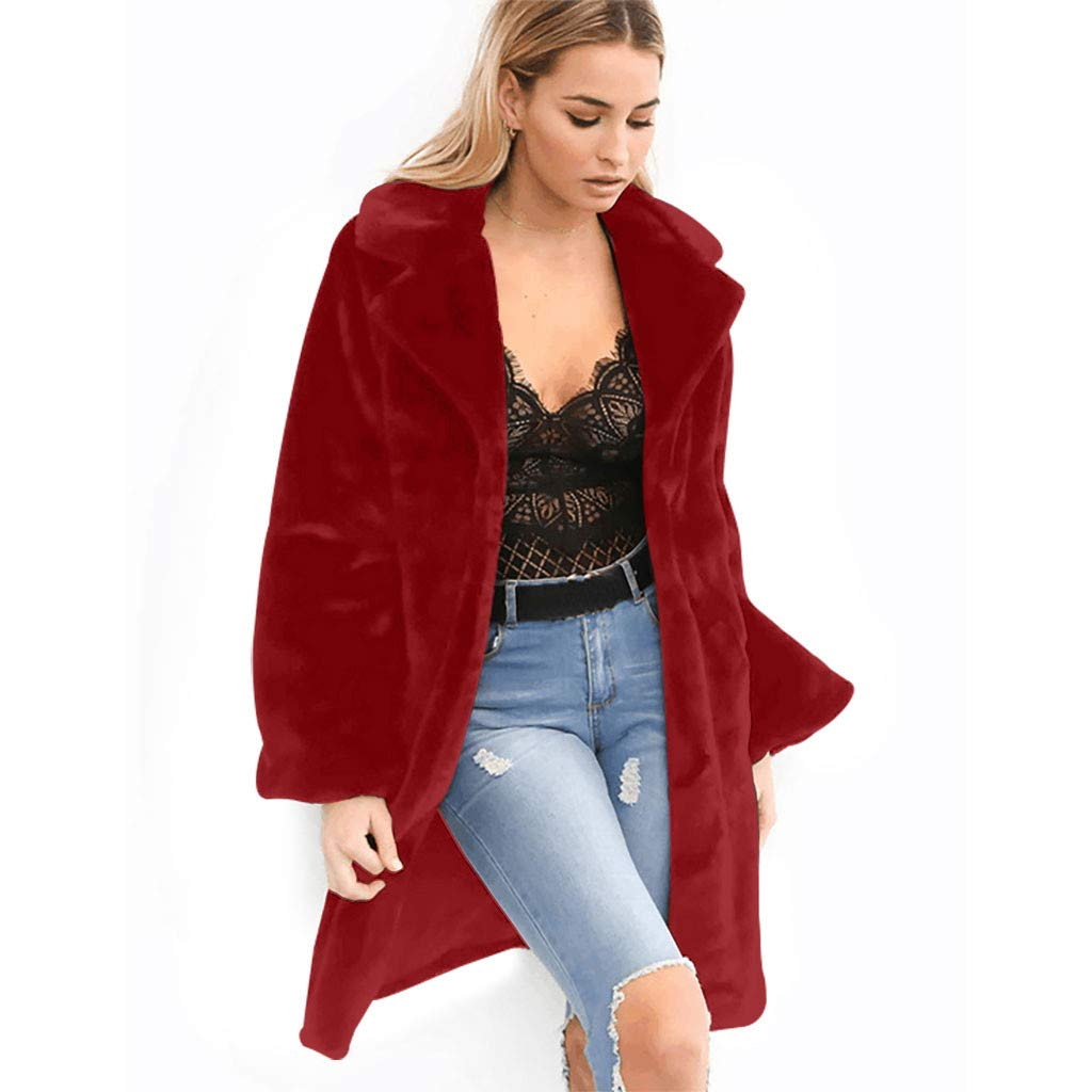 Women Long Cardigan Overcoat Solid Medium Windbreaker Outwear Turn-Down Collar Warm Plush Coat JacketParkas Wine by Morannie