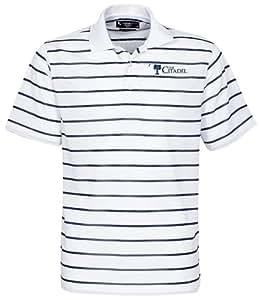 NCAA Citadel Bulldogs Men's Brooks Classic Stripe Polo, White, XX-Large
