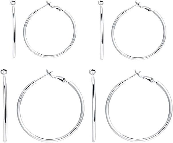 14K Solid White Gold Bar Dangle Earrings Vertical Hanging Drop Women Men