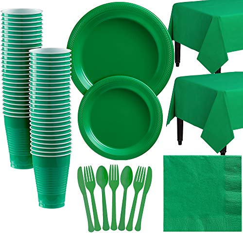 Amscan Festive Green Plastic Tableware Kit for 50 Guests, Party Supplies, Includes Table Covers, Plates, Cups and More ()