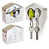 NiceButy Couples Bird House Keychain Sparrow Whistle Key Ring Wall Hook Holder Pair Set