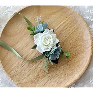 Prettybuy Bride Hand Flower Wrist Corsage Artificial Flower Bracelet Wristband for Wedding,Prom 27
