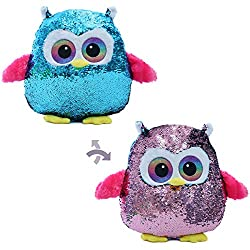 Flip Sequin Owl Stuffed Throw Pillow