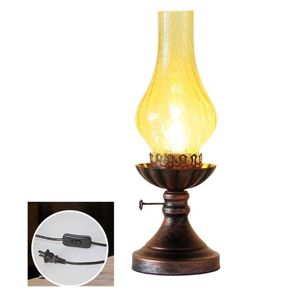 KLSJJ Vintage Wrought Iron Kerosene Table Lamp Modelling Metal Basic Livingroom Bedroom Bedside Table Lamp,Great Workmanship Bedside Lamp with Unique Glass Shade Decoration