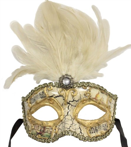 RedSkyTrader Mens Feathered Vintage Finish Mask One Size Fits Most Multicoloured White and Gold