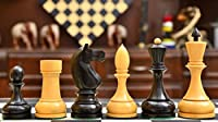 """Reproduced Antique Russian Series Stained Chess Set in Box Wood - 4.13"""" King"""