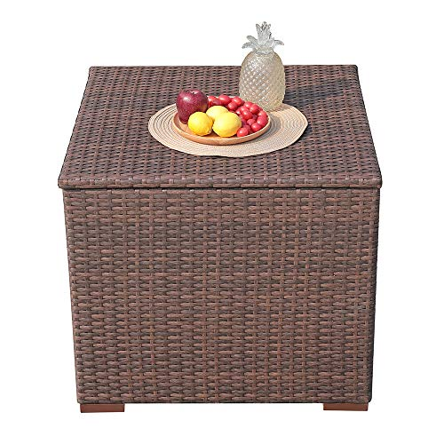 PATIORAMA Outdoor Storage Box Patio Steel Frame Wicker Cushion Storage Bin Deck Box, 88 Gallon, Brown