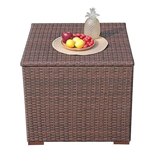 Patiorama Outdoor Storage Box Patio Steel Frame Wicker Cushion Storage Bin Deck Box, 88 Gallon, Brown