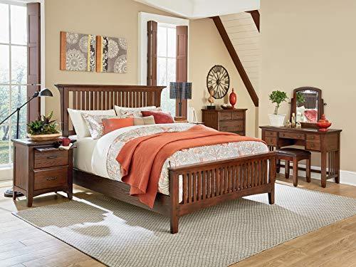 (INSPIRED by Bassett BP-4201-315K Modern Mission King Bedroom Set, Vintage Oak)