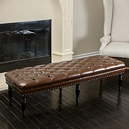 Marcel Tufted Brown Leather Top Ottoman Bench