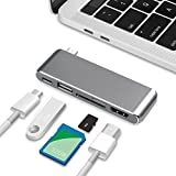 Batianda Slim Super Lightweight Aluminum USB C Hub 5 in 1 Adaptar with Type C Charger Port HDMI 4k Output USB 3.0 Port SD/Micro SD Card Readers for 2017/2016 Macbook Pro and More Type-C Devices (Grey)