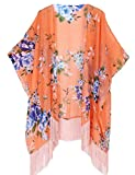 Women's Floral Kimono Cover Up - Lightweight Leopard Chiffon Beachwear for Bikini,Cardigan and Swimwear(One Size,Orange)