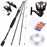 PLUSINNO 4 Piece Fishing Rod and Reel Combos FULL KIT,Carbon Fiber Casting Fishing pole with Reel Line Lures Hooks For Beginners, Traveler, Fishingman(2.1M 6.89Ft)