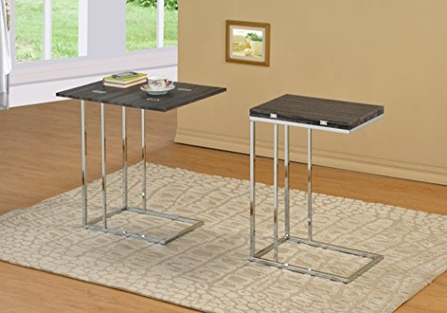 Reclaimed Weathered Grey Finish Expandable Snack Chrome Side End Table (Weathered Finish Furniture)