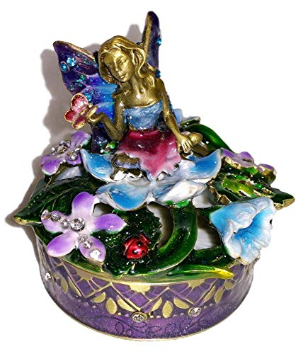 (Welforth Jeweled Enchanted Blue Fairy in Flowers Enamel Crystal Jewelry Trinket Box)