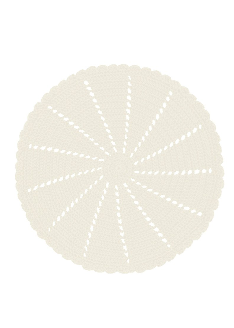 Heritage Lace Mode Crochet 15'' Cream Round Doily/Charger