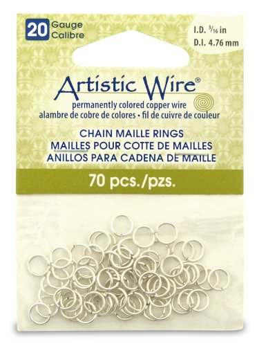 Artistic Wire 20-Gauge Non-Tarnish Silver Chain Maille Rings, 3/16-Inch Diameter, 70-Pieces