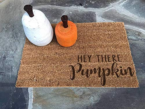 HEY THERE PUMPKIN Door Mat Doormat Front Entry Way Laser Burnt Natural Trampa Ikea Brand Hello Fall Autumn Thanksgiving Halloween FREE Shipping