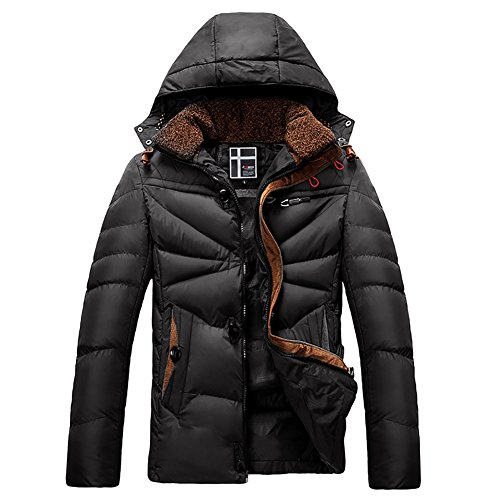 4PING Men's Winter Thickened Quilt Hooded Packable Puffer Down Coat Black L