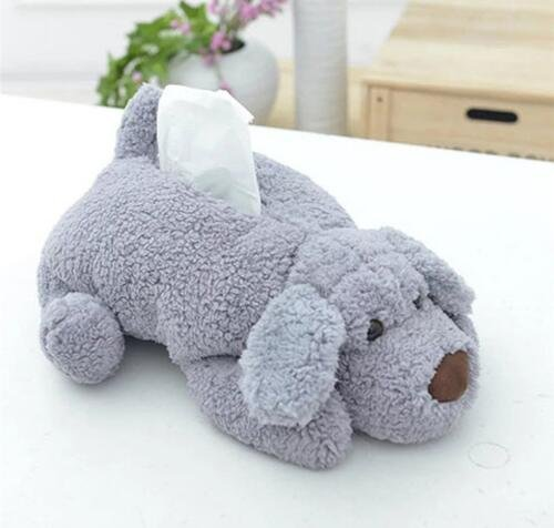 Xiaolanwelc Cute Plush Dog Tissue Box Dispenser Towel Papers Storage Bag Paper Napkin Holder Tissue Case Organizer For Car Table Home Decor (Gray)