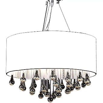 vidaXL Lámpara de Araña con 85 Cristales Pantalla Blanca Luz Techo de Cristal