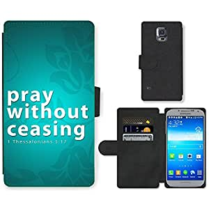 Hot Style Cell Phone Card Slot PU Leather Wallet Case // M99999370 Bible: Pray without ceasing // Samsung Galaxy S5 S V SV i9600 (Not Fits S5 ACTIVE)
