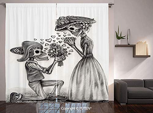 Thermal Insulated Blackout Window Curtain [ Day Of The Dead Decor,Mariage Proposal Till Life do us Apart Dead Day Festive Print,Dimgrey and White ] for Living Room Bedroom Dorm Room Classroom Kitchen]()